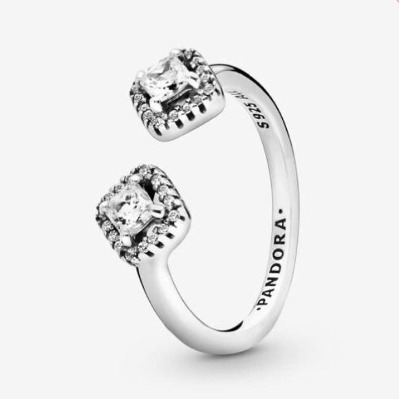 Authentic Pandora Square Sparkle Open Ring, 7 (54)